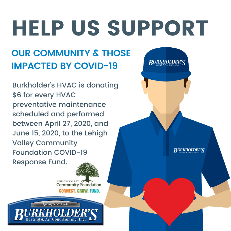 Burkholder S Heating Air Conditioning Inc Raises 3 582 For The Lehigh Valley Community Foundation S Covid 19 Response Fund Lehigh Valley Community Foundation